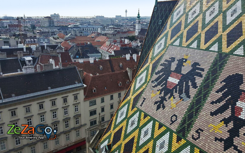 תצפית על העיר וינה ממרפסת מגדל קתדרלת סטפנוס הקדוש